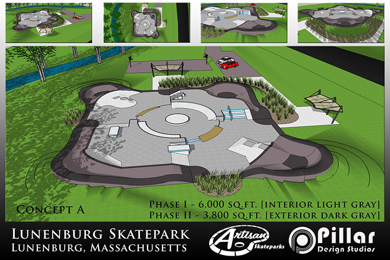 Concept graphic for Lunenburg Skatepark