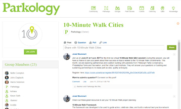 Parkology: 10-Minute Walk Cities page