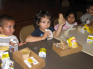 Kids Eating Boxed Lunches