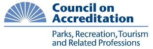 picture of the Council on Accreditation logo that states Parks, Recreation, Tourism and Related Professions.