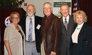 2012 Academy President Lori Daniel, Pete Dangermond, Joe Crookham, Roger Brown, and Fran Mainella, Pugsley Committee chair.