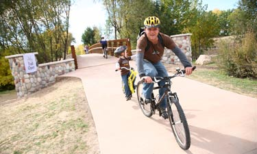 Bikers on the East Bank Trail