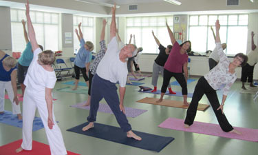 A yoga class at a senior center in Cary, North Carolina