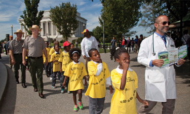Pediatrician Robert Zarr on a prescriptive walk with children from Washington, D.C.