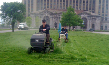 A gang of vigilante mower riders has appeared in Detroit and makes it their mission to clean up many of the parks left  unmaintained in the wake of severe budget cuts.