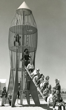 Linnea Anderson, archivist at U of M's Social Welfare History Archives, is particularly fond of images depicting 1950's-style spaceage playground equipment.