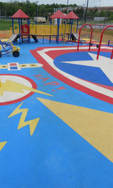 A comic-themed playground in Maryland invites children to use their imaginations and get creative during  playtime.