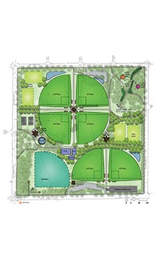 Approved Bossen Field plan, including walking paths, open play fields, a central play area, picnic areas and garden features the Community Advisory Committee and Board unanimously supported.