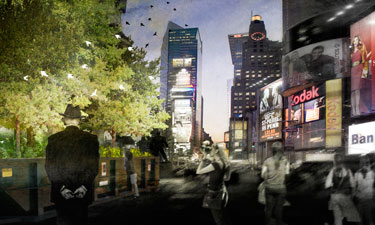 An artistic rendering of the temporary PopUp Forest installation Urban Ecologist Marielle Anzelone is planning for Times Square in 2017.