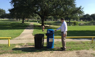 Recycling receptacles with clear language, different colors and smaller holes encourage correct sorting and greatly increase the likelihood that park visitors will recycle appropriately.