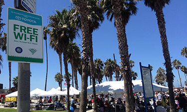 For parks, the key is to offer Wi-Fi to visitors in well-defined, high-traffic locations, such as this section of California's famous Venice Beach.